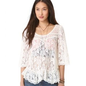 Free People Sheer Scalloped Lace Bell Sleeve Top